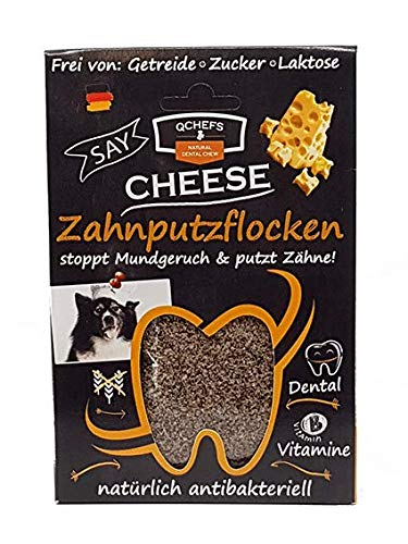 QCHEFS Zahnputzflocken | Hunde Zahnpflege- Snack| Zahnpulver| Hundeleckerlie| Zahnsteinentferner | gegen Mundgeruch - Gegen Hundefutter Zahnstein