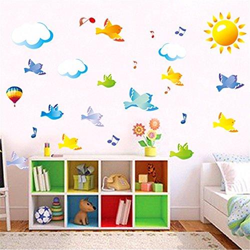 VöGel Sonne Noten Wolken Musik Abnehmbare Kinder Wandaufkleber Schlafzimmer Klassenzimmer Dekorieren Wandaufkleber 50 X 70 Cm