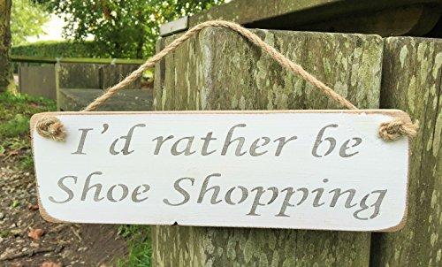 I'd Rather Be Shopping Schuh, aus Holz, Geschenk, Aufschrift 'Best Friend ', handgefertigt, von Vintage-Designer Austin Sloan Austin Schuhe