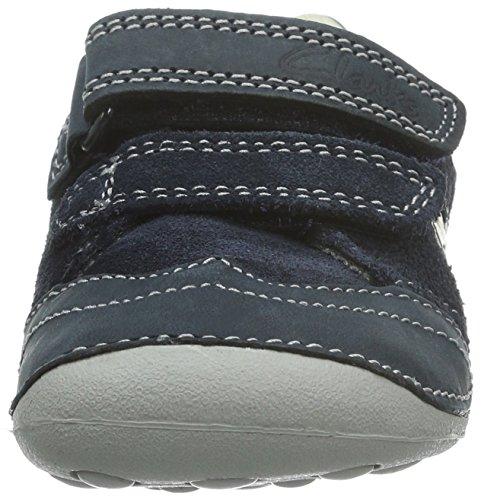 Clarks Kids Tiny Liam, Baskets premiers pas mixte bébé Bleu (Navy Leather)