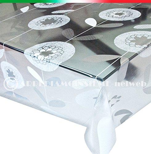 Mantel moderno, transparente, antimanchas, 140 cm de ancho, modelo Kristal 89; se...