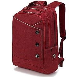 Sac à Dos Ordinateur Portable 15.6 Pouces Sac à Dos d'affaires Sac à Dos Fonctionnel Sac a Dos PC Portable pour Loisirs/Affaire/Scolaire (Rouge)