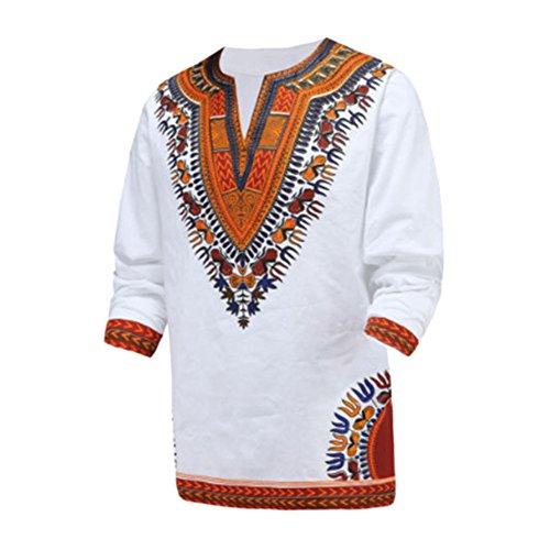 Haodasi Haodasi Herren afrikanisch National Stil Gedruckt Lange Ärmel Traditionell T-Shirt Dashiki Tribal Hemd