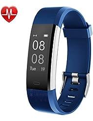 YAMAY® Fitness Armband mit Pulsmesser,Fitness Tracker Aktivitätstracker Bluetooth Smart Armband Schrittzähler Uhr mit Schlafmonitor Kalorienzähler Vibrationsalarm Anruf SMS Whatsapp Beachten kompatibel mit iPhone Android Handy (Blau)