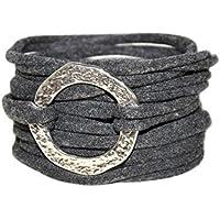 Endlosarmband zum Wickeln in anthrazit - onesize - gehämmerter Ring
