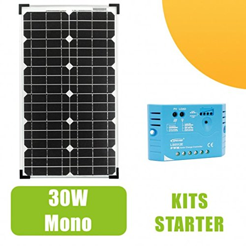 Kit Panel Solar 30W Tipo Silicona monocristalina gama 'Pro' 12V y regulador 5A. para pequeñas instalaciones solares necesarios para el funcionamiento de luces pequeños, una bomba o de cualquier otro dispositivo que se encuentran en un sitio aislad...