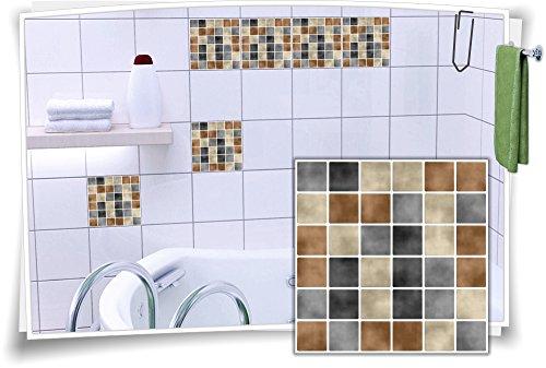 12 X 12 Mosaik (Fliesenaufkleber Fliesenbild Fliesen Aufkleber Fliesenimitat Mosaik Braun, 12 Stück, 15x15cm)