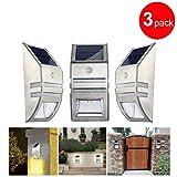 Frostsicher Edelstahl Solar Bewegungsmelder Sensor Wandlampe / Veranda / Außen Beleuchten für Garten, Step, Deck, Drive Way-2Modi (Helle + Schwach) (3)