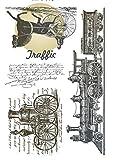 Tic-Tac Tampon en Caoutchouc Transparent Vintage Timbre 16x11cm Ère Steampunk