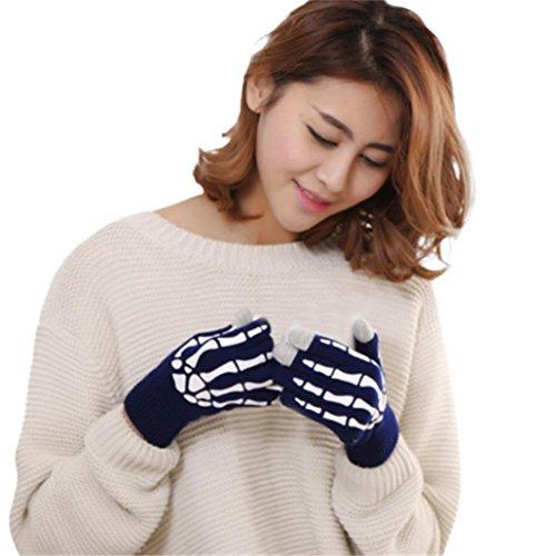 l Klaue Knochen Flip Halten Handschuhe TUDUZ Winter Gestrickte Handgelenk Handwärmer für Unisex Weihnachten Geschenke (B) (Knochen Tank Kleid)