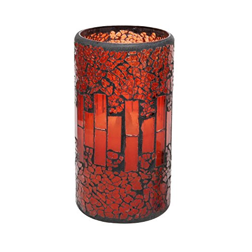 Red Crack Pattern Mosaic Glass Candle,LED Candles,Flameless Candle, Safe & Flame-less, Real Wax + Mosaic Glass , Soft Flickering Light, for SPA,Wall ,Living Room, Cafe, Indoor & Outdoor Decorative, Battery Operated,4&8 Hours Timer,3x4 Inch