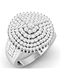 LOLLS Solid 10K Gold 1.76 CT Round Cut Natural Diamond SI HI Cluster Designer Engagement Ring [LOLLS_AMR1742_10K]