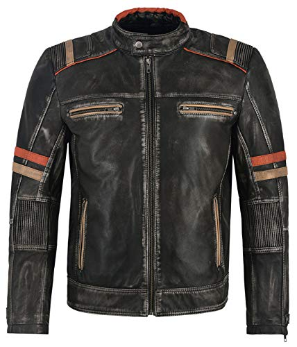 Herren Echt Lammfell Lederjacke Schwarz Vintage Biker Motorrad Style 2633 (L)