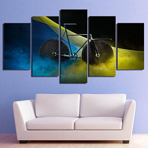 Design PT Leinwand HD Print Poster Wand Kunst 5 Panel psychedelischen Smog Fahrrad Bilder Modulare Abstrakte Malerei Wohnzimmer Wohnkultur Rahmen, 30x50 30x70 30x80 cm, Rahmen
