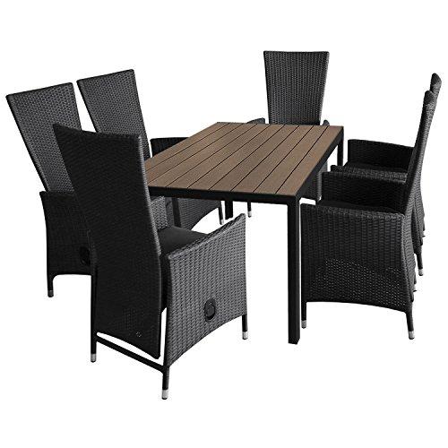 7tlg. Gartengarnitur Aluminium Gartentisch 150x90cm mit Polywood Tischplatte stapelbare Polyrattan Sessel inkl. Sitzkissen