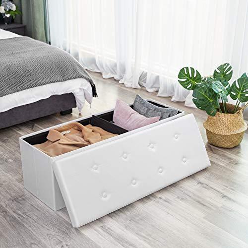 Songmics Sitztruhe 3-Sitzer Kunstleder, weiß, 110x38x38cm - 2