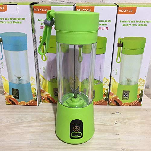 Personal Blender Portable Electric Juice Cup Fruit Juicer Charging Mini Juicer Multi-function Fruit and Vegetable Cup Six Pieces 3D Blade, 6 Leaf Blade Green, 400mL and below