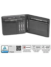 Portefeuille cuir noir compartiments rabattables, protége des cartes de crédit, débit bloquant les signaux RFID Porte-monnaie (kuk-97bl)