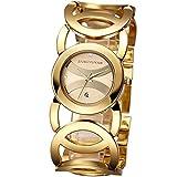 Gwood Damen Modeuhr Armbanduhr Armreifen Armkette Uhr Damenuhr Gold Charms Quarz Edelstahl Armbanduhr (Gold)
