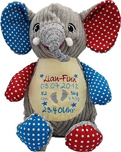 Cubbies Stofftier Teddy Bär, Einhorn, Rentier, Hase, Giraffe, Tiger, Elefant Geschenk mit Namen und Geburtsdatum personalisiert Bestickt 40cm (Elefant Bunt)