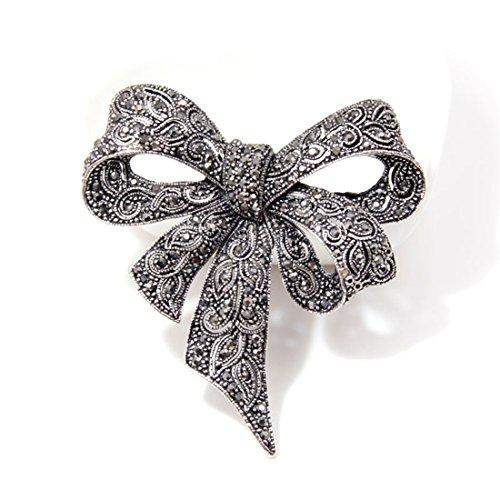 Yesiidor Vintage Kristall Bowknot Brosche Mode Retro böhmischen Geschnitzt Kleid Schals Schal Clip Brosche Hochzeit Zubehör Schmuck Geschenk -