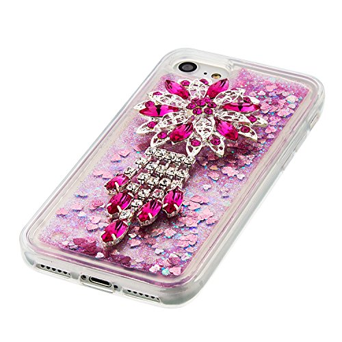 Case iPhone 7 3D Bling Diamant Design Coque, Sunroyal Glitter Bling Bling Dual Layer en Soft TPU Silicone Housse Transparent Clair Back Cover Strass Cristal Protecteur Étui Paillettes Flottant Liquide A-07