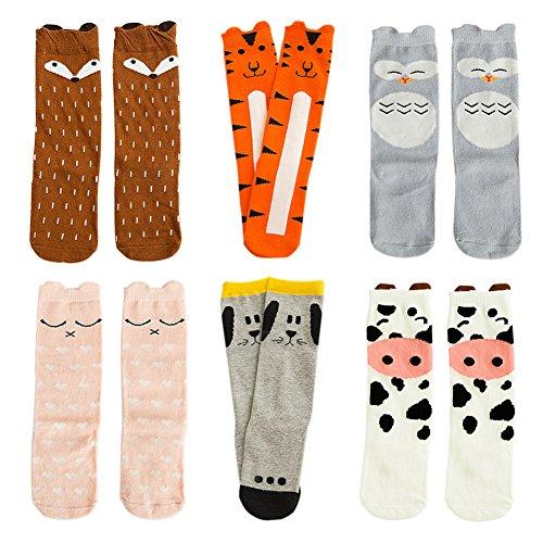 VWU Unisex Mädchen Jungen Kniestrümpfe Lang Knie Socken Anti Rutsch Baumwolle Strümpfe 6er Pack (3-5 Jahre, Set 2)