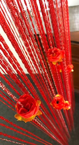 HYSENM Fadenvorhang Dekovorhang 100 x 200cm mit Blumen Vintage fest für Türen Hochzeit Party, Rot 100 x 200cm -