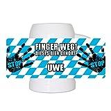 Lustiger Bierkrug mit Namen Uwe und schönem Motiv Finger weg! Dieses Bier gehört Uwe | Bier-Humpen | Bier-Seidel