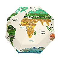 Umbrella Customize 3 Folds Ancient Dinosaur Skeleton World Map Windproof Auto Open Close Lightweight Anti-UV