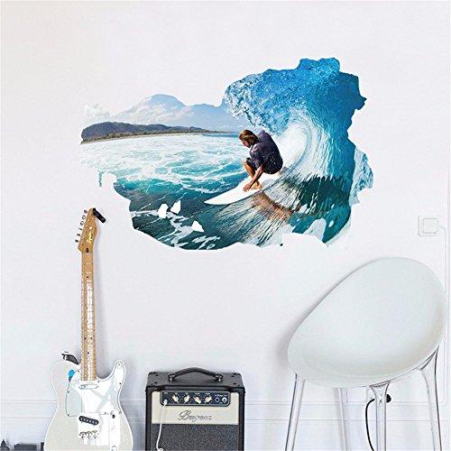 Preisvergleich Produktbild 3D-Sticker (surfen) poqiang/Schlafzimmer/Wohnzimmer/Schlafzimmer/Badezimmer/Kinderzimmer/Dekoration/Wand/pvc/(59 * 89 cm) kann entfernt werden.