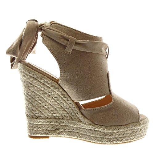 Angkorly Chaussure Mode Sandale Mule Plateforme Peep-Toe Ouverte Arrière Femme Ruban Corde Tréssé Talon Compensé Plateforme 13 cm Beige
