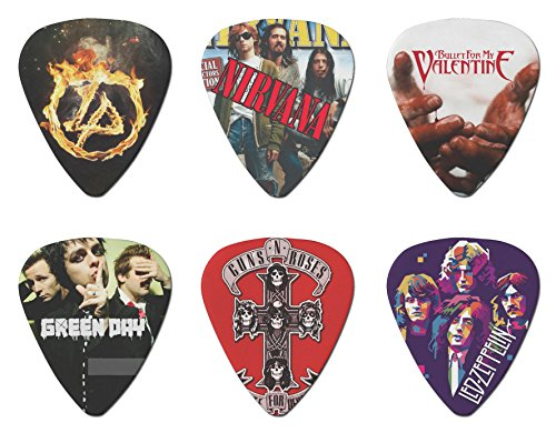6 Piece - 0.71mm Guitar Picks of Iconic Rock Bands Imprints