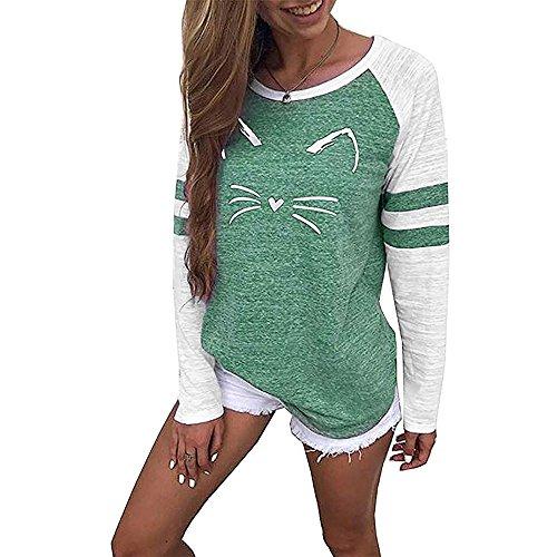 tefamore Mode Femmes Dames À Manches Courtes Splice Blouse Tops Vêtements T-Shirt (XL, Vert-A)