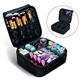 #9: House of Quirk Makeup Cosmetic Storage Case With Adjustable Compartment - Black