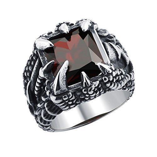 DALARAN Weinlese Drache Greifer Ringe kühler Mann Edelstahl Radfahrer Ring gotischer Band roter Stein (Greifer Kühler)