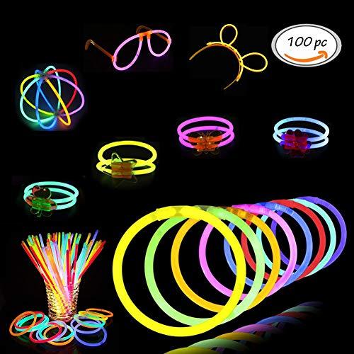 Leuchtstäbe, Glow Sticks, Leuchtsticks, Armband Luminous, Blinkend Armbändern für Weihnachten Geburtstagsparty Halloween Party Disco Konzert Geburtstag Weihnachten Kinder Spielzeug, 100pcs/set