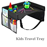 Kids Travel Tray, Silence Shopping Reise Rücksitz mit Mesh Speicher Taschen Activity Tray Tragbare Wasserdichte Travel Tray Geeignet für Autositz/Kinderwagen / Flugzeug Schwarz