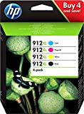 HP 912XL Combo Pack 3YP34AE Confezione da 4 Cartucce Originali ad Alta Capacità per Stampanti a Getto d'Inchiostro OfficeJet Pro Serie 8010 e 8020, Nero, Ciano, Giallo e Magenta
