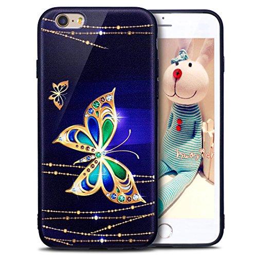 Coque iPhone 6, Étui iPhone 6S, iPhone 6/iPhone 6S Case, ikasus® Coque iPhone 6/iPhone 6S Housse Papillon Panda Hibou Fleur Modèle Couleur peinte Doux TPU Silicone Étui Housse Téléphone Couverture TPU Papillon d'or