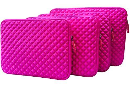 AZ Cover 9.7 Inch Case Simplicity & Stylish Diamond Foam Shock Resistant Neoprene Sleeve (Hot Pink) For 9.7