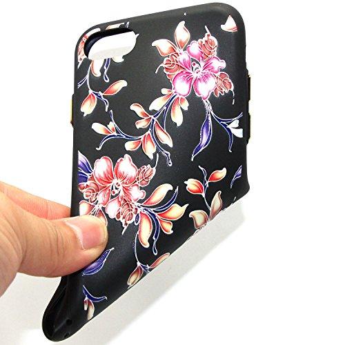Coque iPhone 7 Plus, Étui iPhone 7 Plus, ISAKEN Coque pour Apple iPhone 7 Plus - Étui Housse Téléphone le soulagement Étui TPU Silicone Souple Coque Ultra Mince Gel Doux Housse Motif Arrière Case Anti fleur B