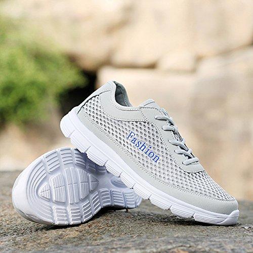 Männer Laufschuhe Big Size Breathable Mesh Leichtgewicht Road Walking Trail Athletic Freizeit Reisen Outdoor Sport Casual Sneaker Grau