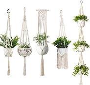 Macrame Plant Hangers, Set of 5 Indoor Hanging Planter, Handmade Hanging Plant Holder,Indoor Outdoor Hanging P