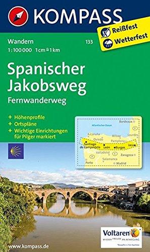 Spanischer Jakobsweg: Fernwanderweg. GPS-genau. 1:100000 (KOMPASS-Wanderkarten, Band 133)