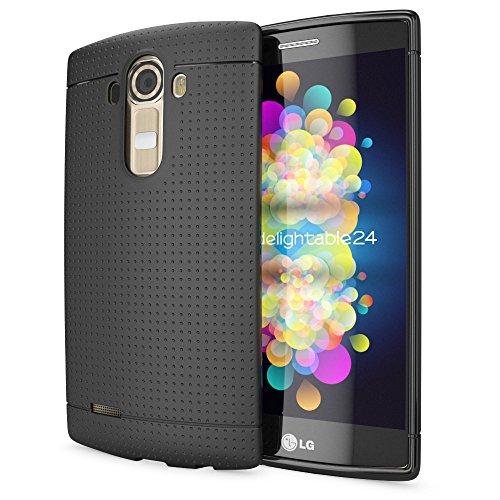 NALIA Handyhülle für LG G4, Ultra-Slim Case Softcover, Dünne Punkte Schutzhülle, perforierte Etui Handy-Tasche Back-Cover Bumper, TPU Silikon-Hülle für LG G-4 Smart-Phone - Mesh Schwarz