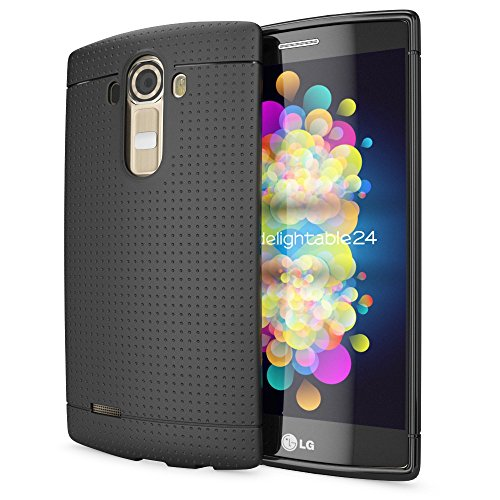 NALIA Handyhülle kompatibel mit LG G4, Ultra-Slim Case Softcover, Dünne Punkte Schutzhülle, perforierte Etui Handy-Tasche Back-Cover Bumper, TPU Smart-Phone Silikonhülle Hülle - Mesh Schwarz