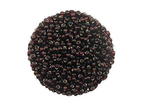 Creative-Beads böhmische Glasperlen, Rocailles, 2.6 mm. Silbereinzug. 14g Döschen, braun um Schmuck, Deko, Armband selber zu machen oder basteln