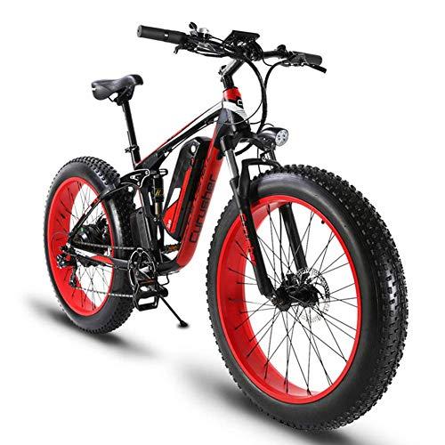 ZDDOZXC XF800 26 zoll Fat Tire E-Bike 1000 Watt 48 V Schnee E-Bike Shimano 7 Geschwindigkeiten Beach Cruiser Herren Frauen Mountain E-Bike Pedal Assist, Lithium-Batterie Hydraulische Scheibenbremsen