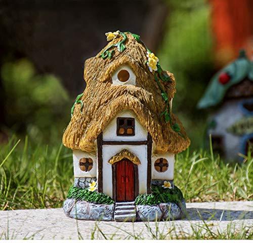 LWKBE 21 cm Fairy Garden House Statue mit Solarlicht, handgemalte Miniatur-Figur-Kit, Harz Gartenskulpturen für die Außendekoration (Outdoor-Paradies),Cottage